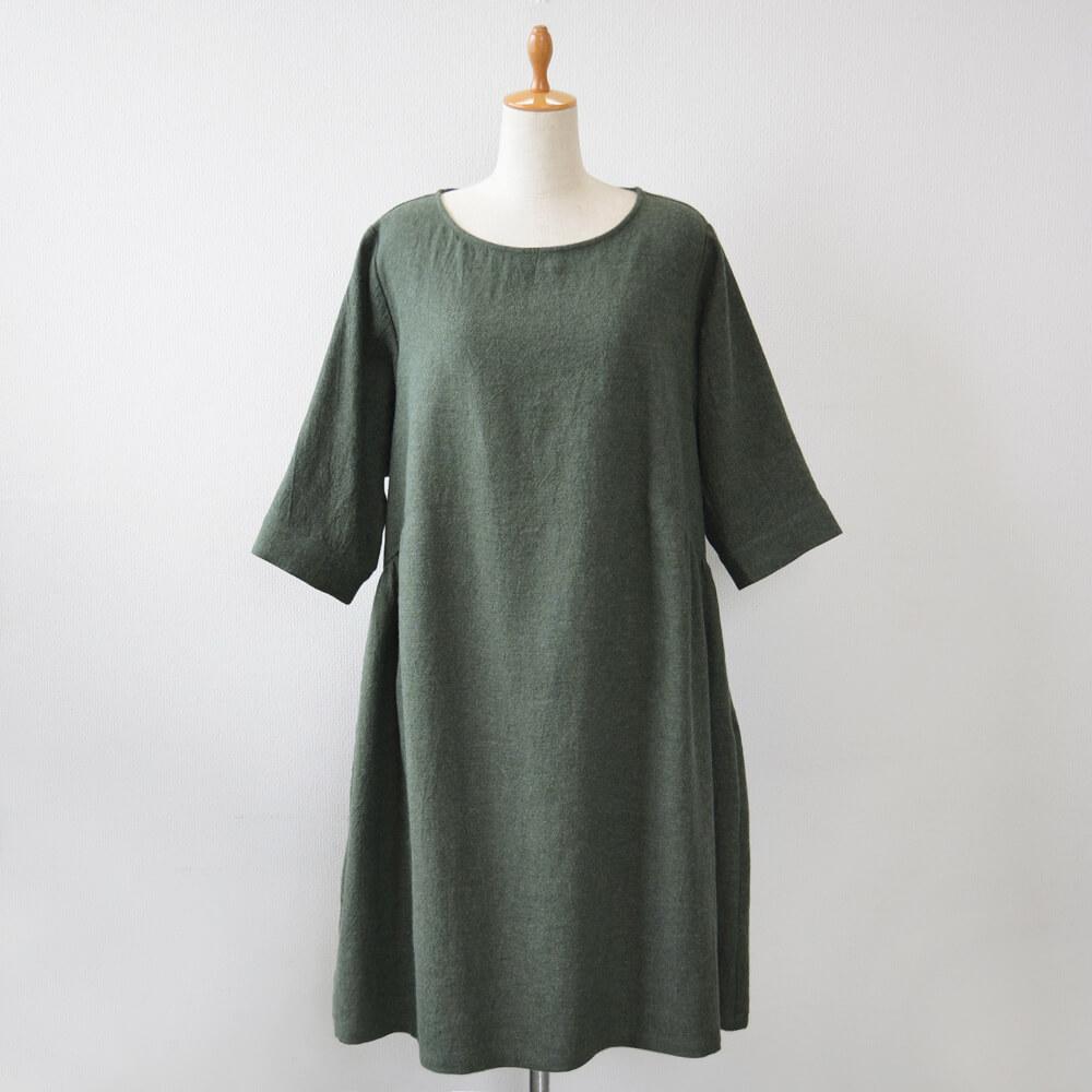 リネンウールワンピース 五分袖 千歳緑