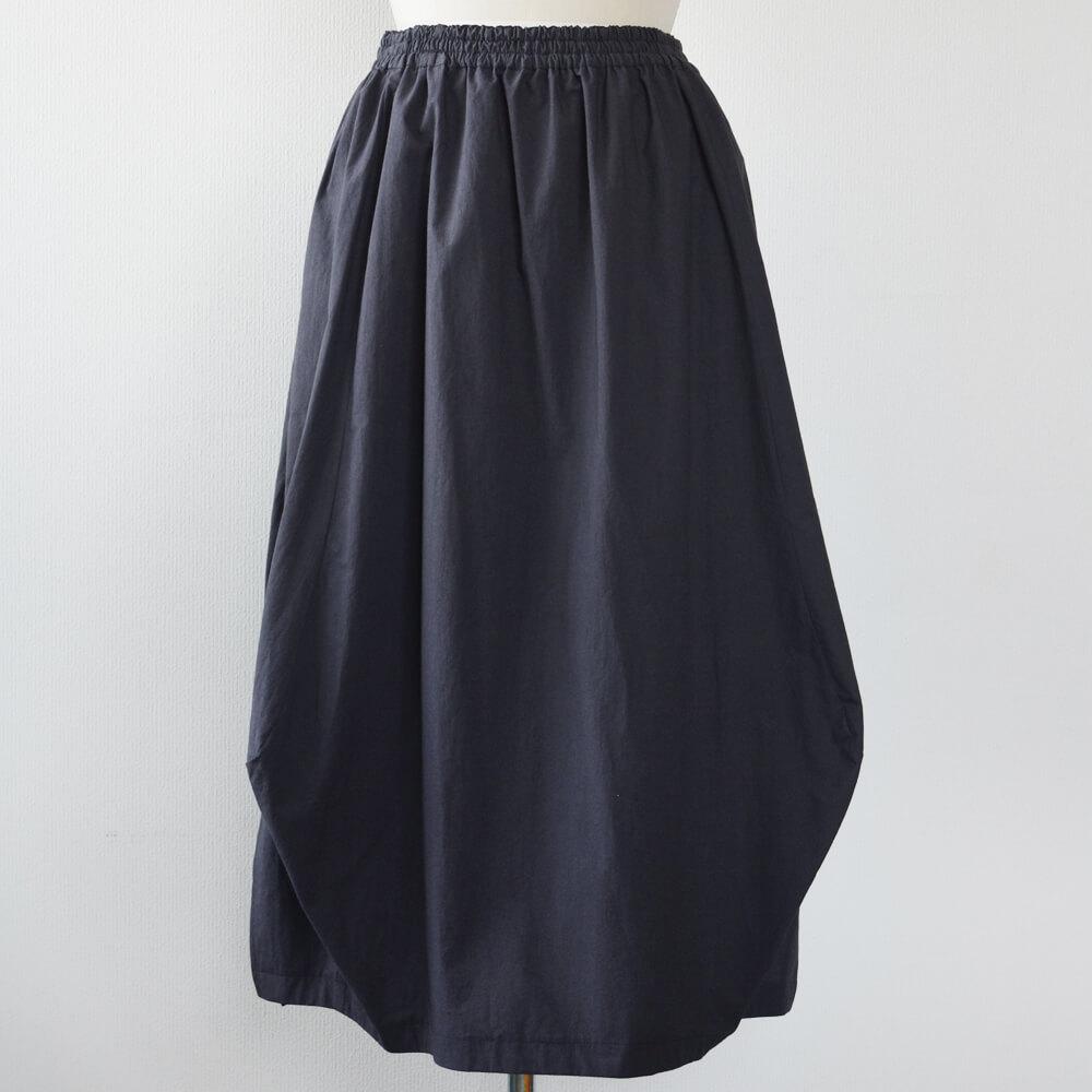 バルーン風スカート 綿 濃紫