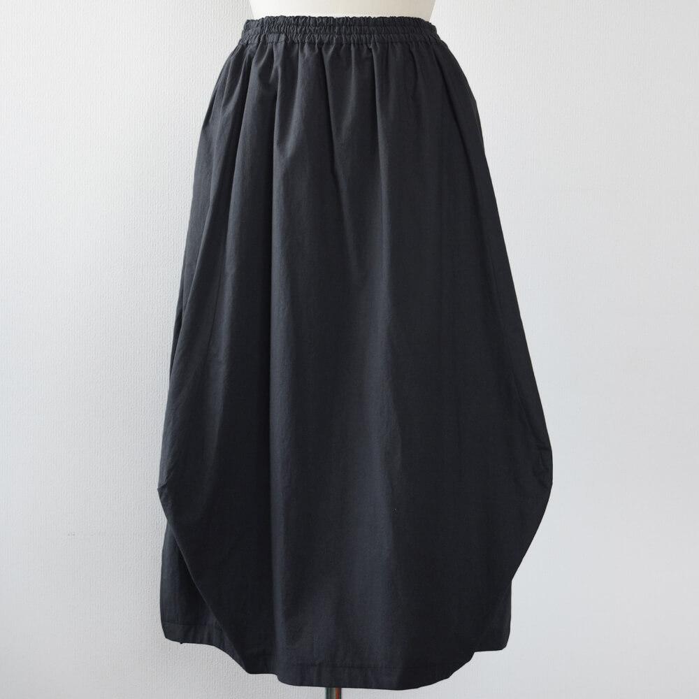 バルーン風スカート 綿 墨色
