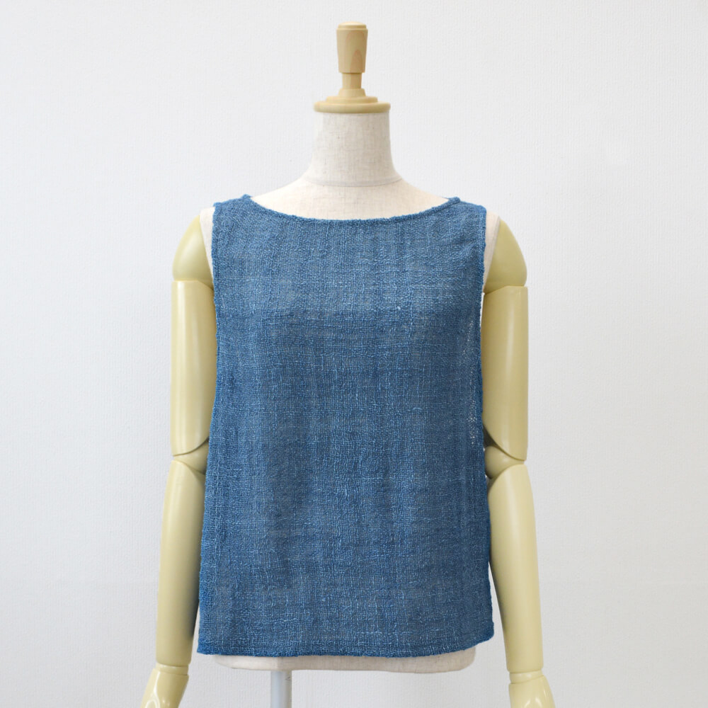 手織りベスト 綿 藍染