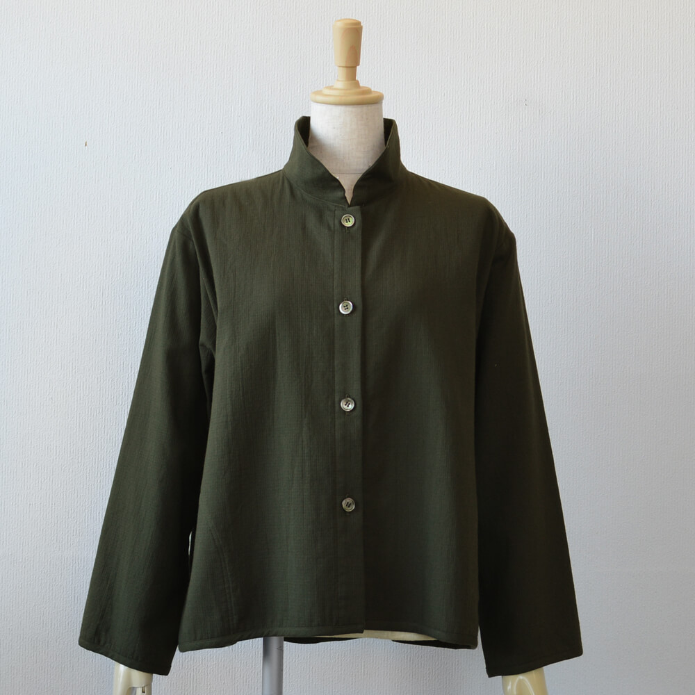 ダブルガーゼジャケット 綿 黒緑
