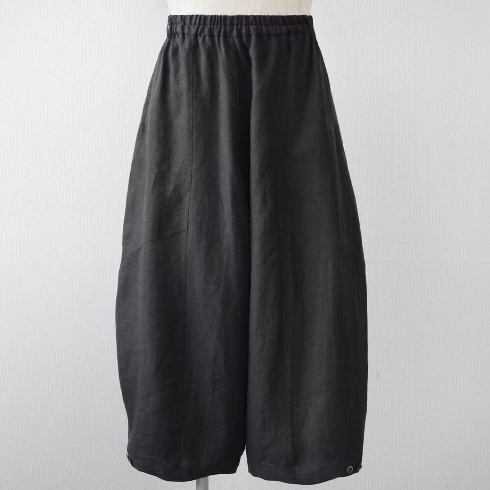バルーン風パンツ 麻 墨色