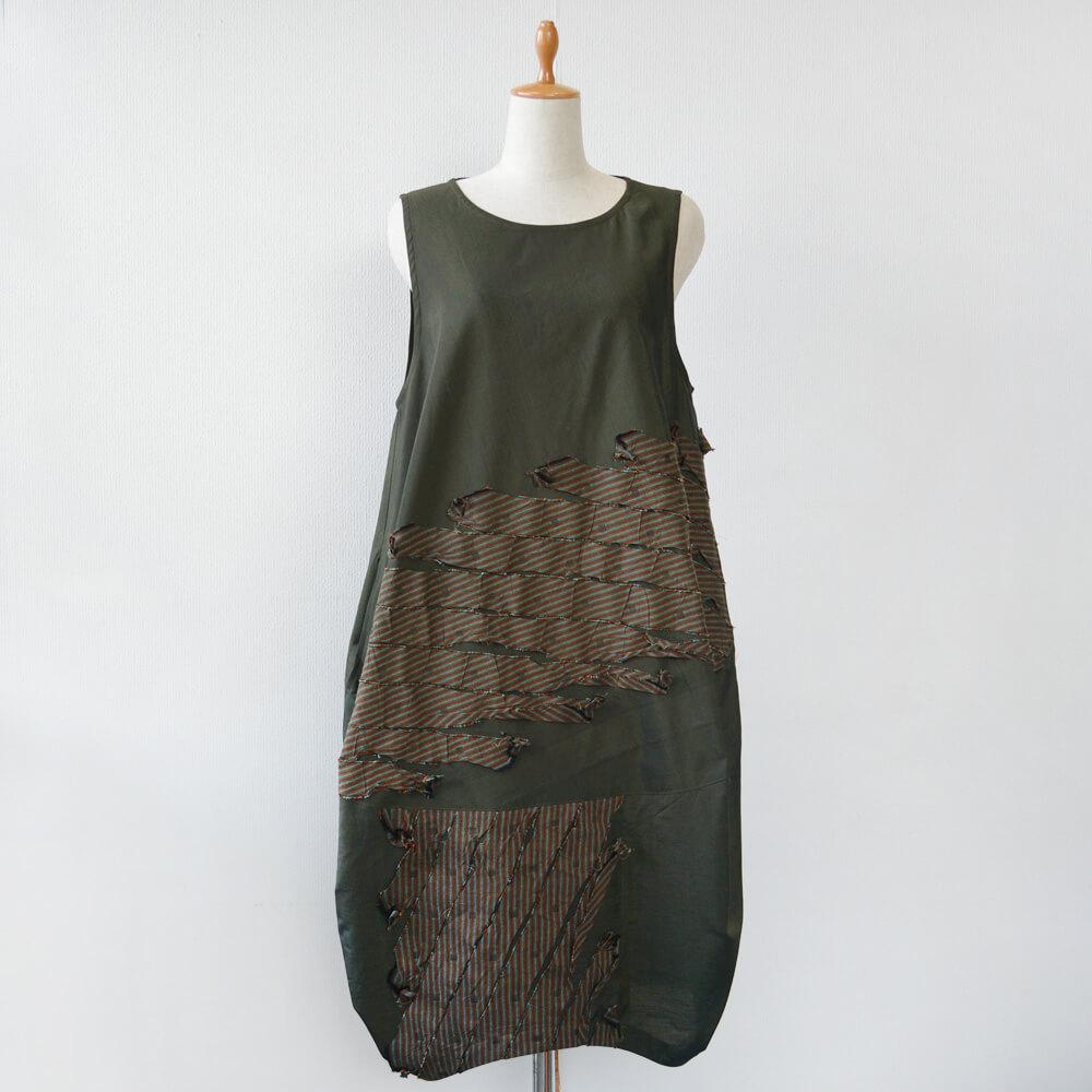 コクーンワンピース 綿 千歳緑