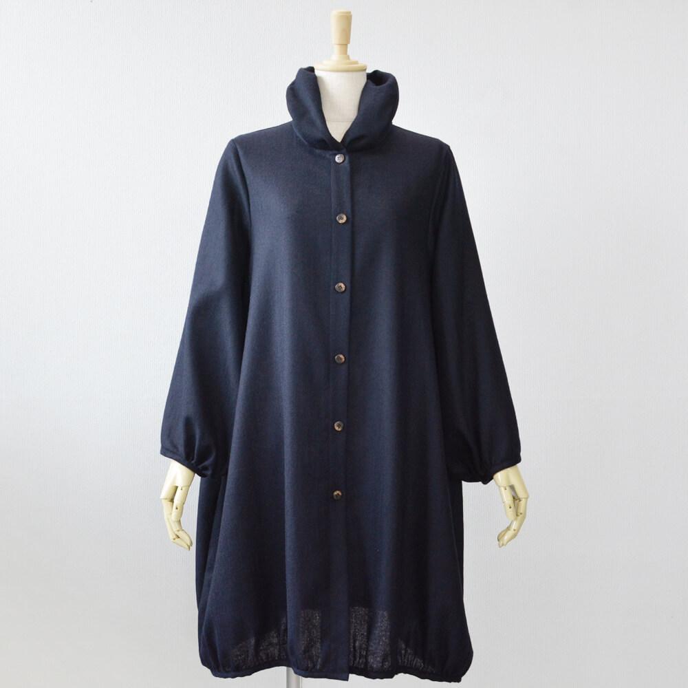 バルーン襟ロングブラウス ウール 濃藍
