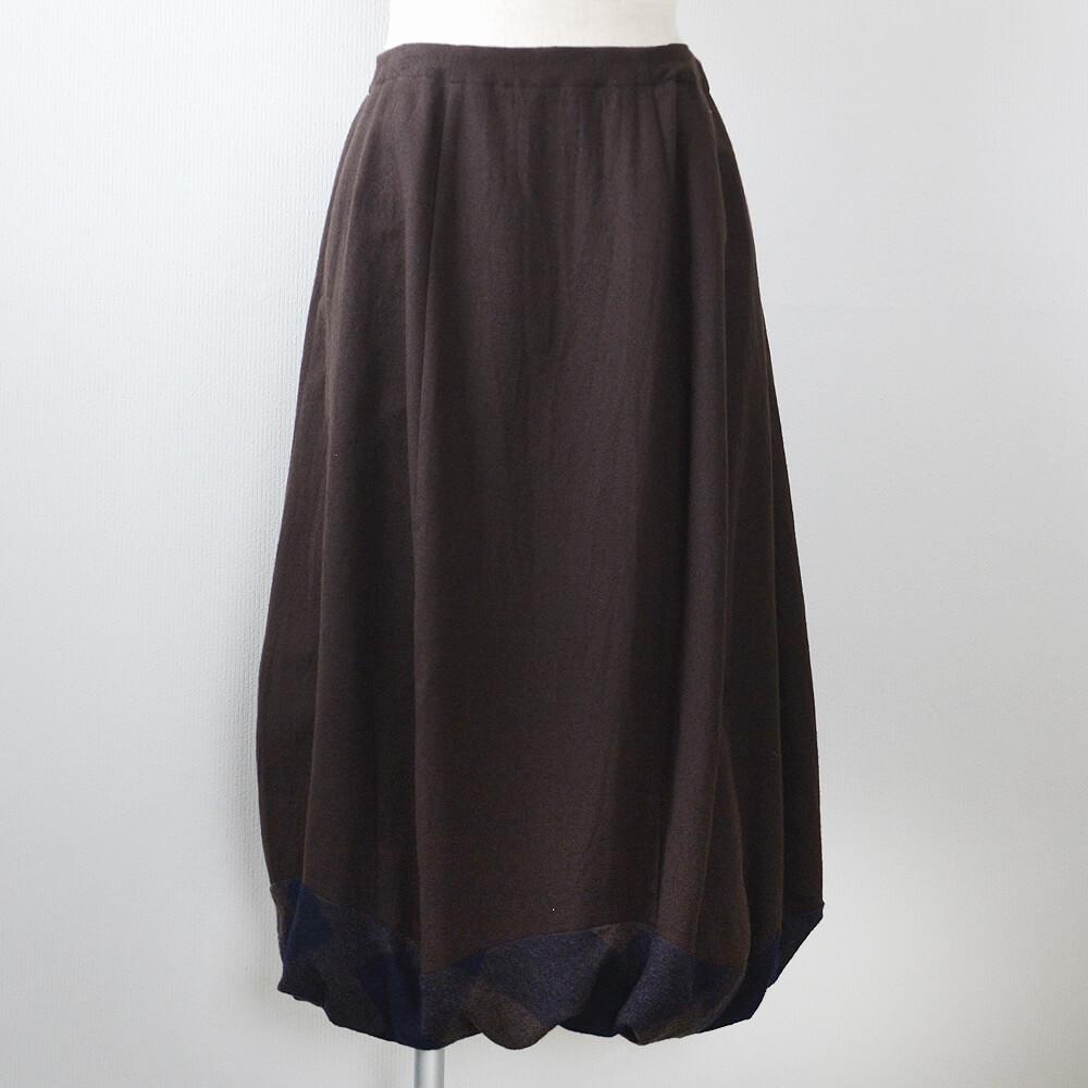 裾バルーン切替えスカート 綿ウール 千歳茶